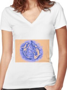 Watercolor painting of koi fish in water Women's Fitted V-Neck T-Shirt
