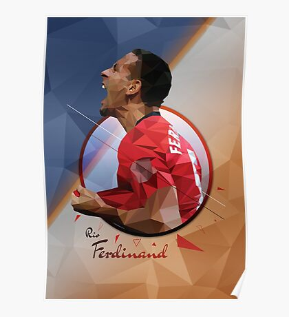 Rio Ferdinand - Manchester United - Low Poly Design  Poster