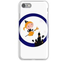 Cute Witch girl flying around Halloween castle iPhone Case/Skin