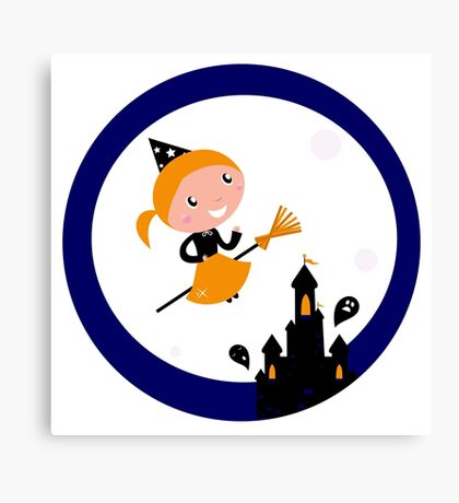 Cute Witch girl flying around Halloween castle Canvas Print