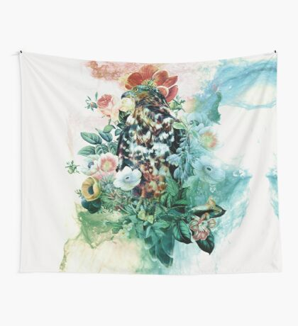 Bird in Flowers Wall Tapestry