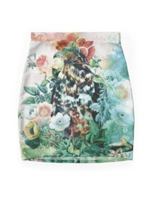 Bird in Flowers Mini Skirt
