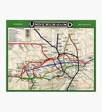 Map - London Underground Map - 1908 Photographic Print