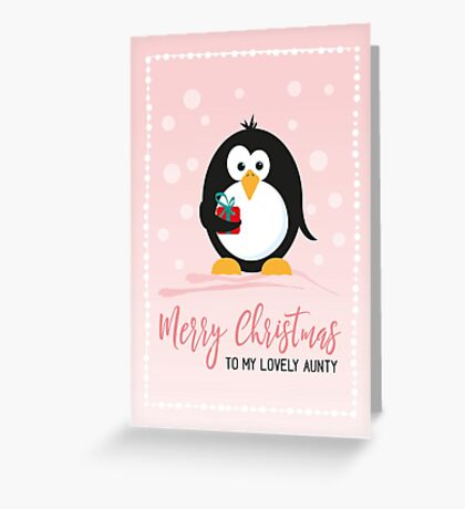 Cute Penguin Christmas card for aunt Greeting Card