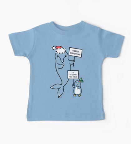 Dolphin & Penguin - Merry Christmas & Happy New Year Baby Tee