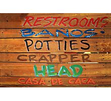 Bathroom Sign Photographic Print