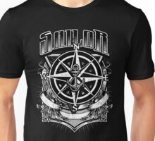 Nautical Vintage Sailor with Compass and Anchor Unisex T-Shirt