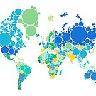 abstract world map with colorful dots by beakraus