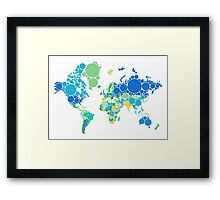 abstract world map with colorful dots Framed Print
