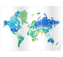abstract world map with colorful dots Poster