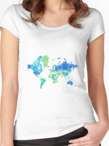abstract world map with colorful dots Women's Fitted Scoop T-Shirt