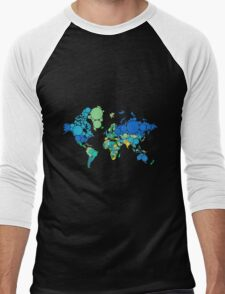 abstract world map with colorful dots Men's Baseball ¾ T-Shirt