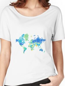abstract world map with colorful dots Women's Relaxed Fit T-Shirt