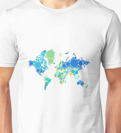 abstract world map with colorful dots Unisex T-Shirt