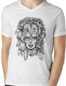 Girl with Lion Head Mens V-Neck T-Shirt
