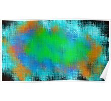 green blue and orange painting abstract  Poster