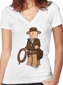 Lego Indiana Jones Harrison Ford Adventure Treasure Women's Fitted V-Neck T-Shirt