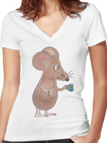 Mouse Don't Care Women's Fitted V-Neck T-Shirt