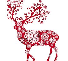 Christmas deer with snowflakes pattern by beakraus