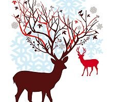 Christmas deer with tree branch antlers and birds by beakraus