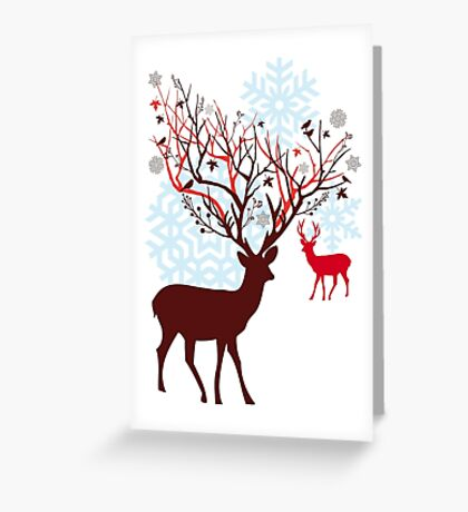 Christmas deer with tree branch antlers and birds Greeting Card