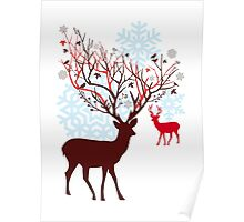 Christmas deer with tree branch antlers and birds Poster