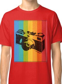 The old camera on rainbow background Classic T-Shirt
