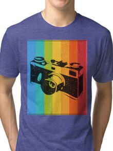 The old camera on rainbow background Tri-blend T-Shirt