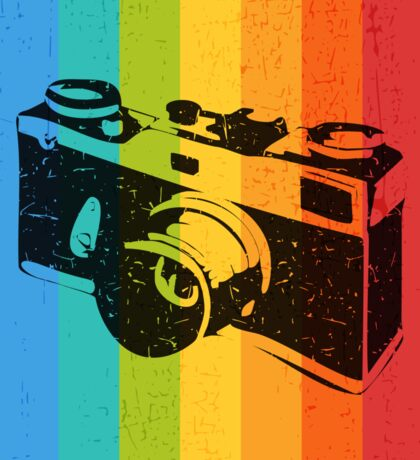 The old camera on rainbow background Sticker