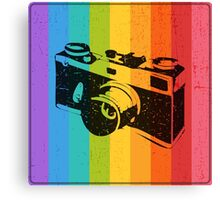 The old camera on rainbow background Canvas Print