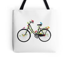 Old vintage bicycle with flowers and birds Tote Bag