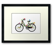 Old vintage bicycle with flowers and birds Framed Print