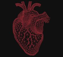 red human heart with geometric mesh pattern One Piece - Long Sleeve