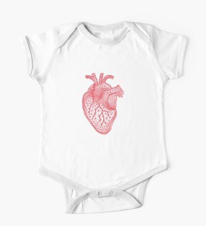 red human heart with geometric mesh pattern One Piece - Short Sleeve