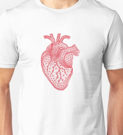 red human heart with geometric mesh pattern Unisex T-Shirt