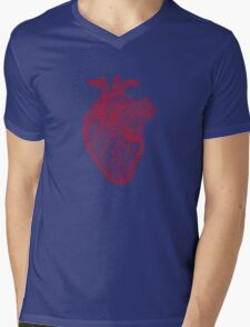 red human heart with geometric mesh pattern Mens V-Neck T-Shirt