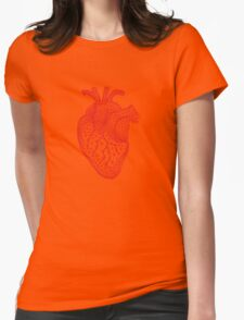 red human heart with geometric mesh pattern Womens Fitted T-Shirt