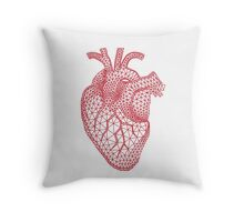 red human heart with geometric mesh pattern Throw Pillow