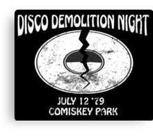 Disco Demolition Night - White Canvas Print