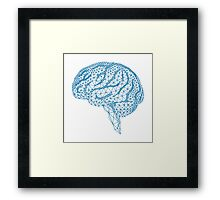 blue human brain with geometric mesh pattern Framed Print