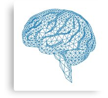blue human brain with geometric mesh pattern Canvas Print