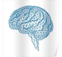 blue human brain with geometric mesh pattern Poster