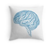 blue human brain with geometric mesh pattern Throw Pillow