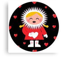 Little Eskimo kid for Valentine's Day Canvas Print