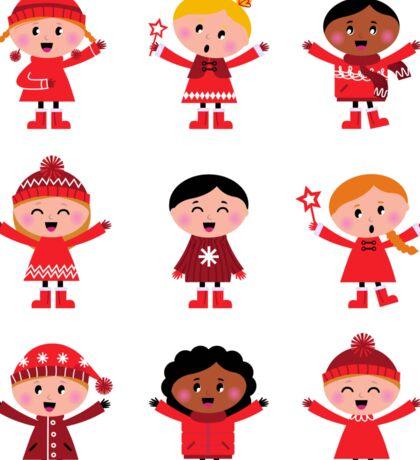 Little christmas cartoon children set : red Sticker