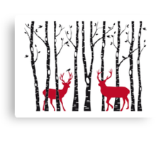 Christmas deers in birch tree forest Canvas Print