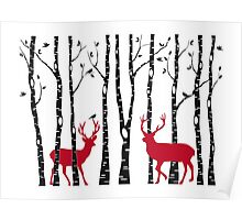 Christmas deers in birch tree forest Poster