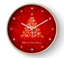 Starry Christmas Tree On Decorative Red Background Clock
