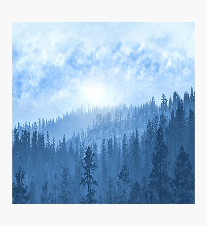 Here Comes The Sun - Misty Forest - Blue Photographic Print
