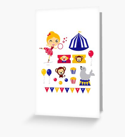Circus design elements collection : Circus girl with items Greeting Card